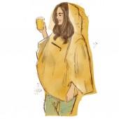 Fotografie dívka v žlutá pláštěnka se žlutým sklem ve svých rukou. Ruční kresba