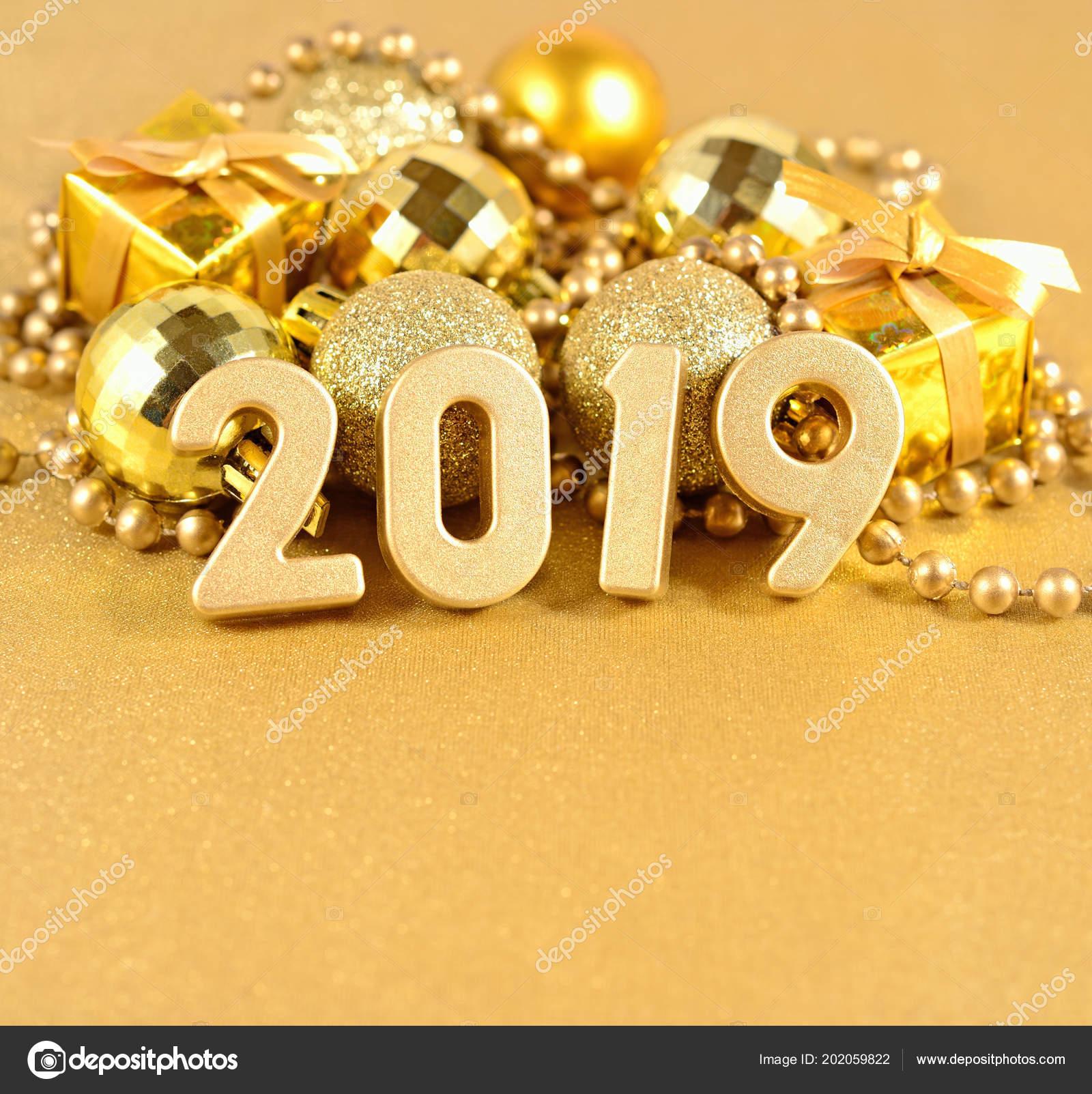 2019 Year Golden Figures Background Golden Christmas Decorations