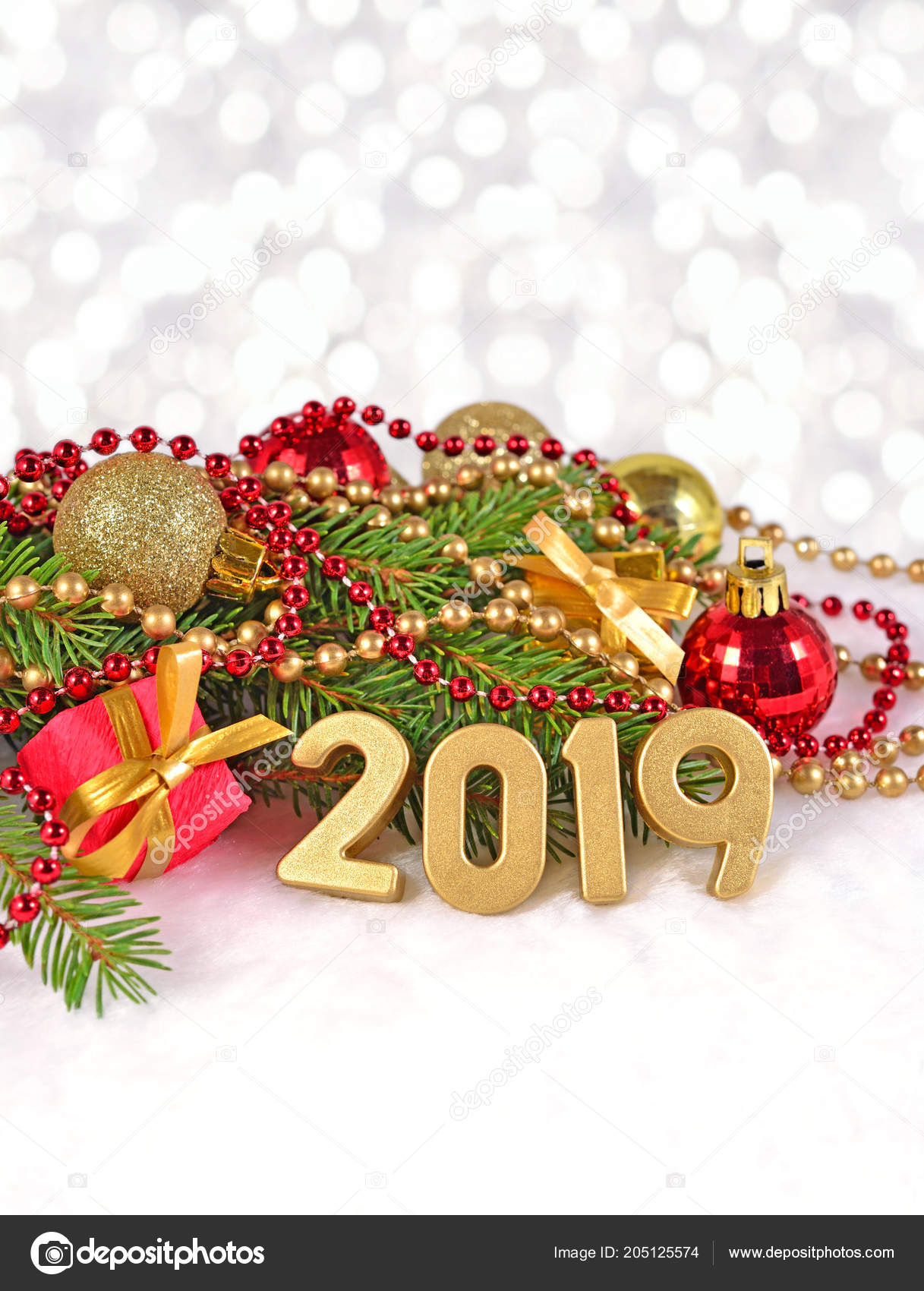 2019 Year Golden Figures Spruce Branch Christmas Decorations Bokeh