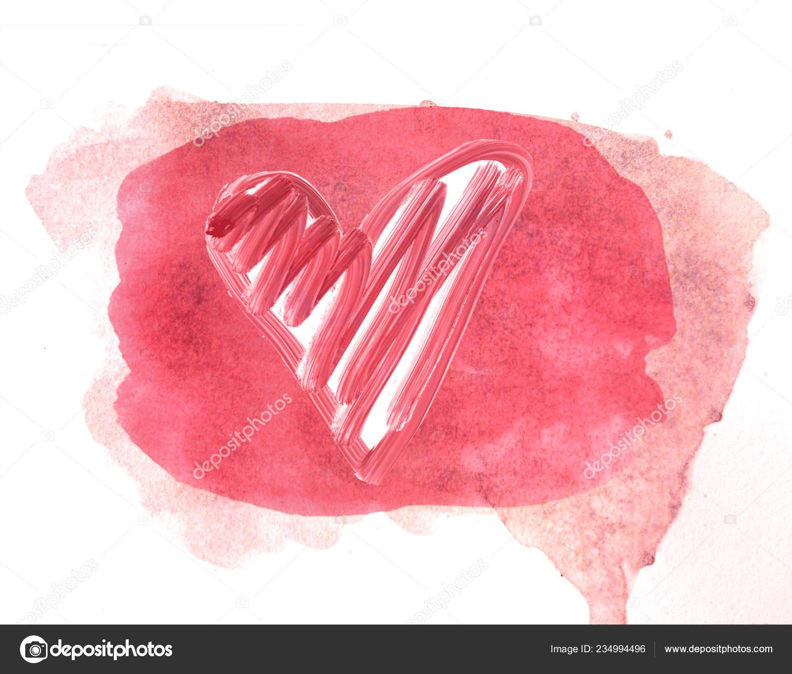 Pembe Sulu Boya Boyali Kalp Sekli Pembe Bir Arka Plan Stok Foto