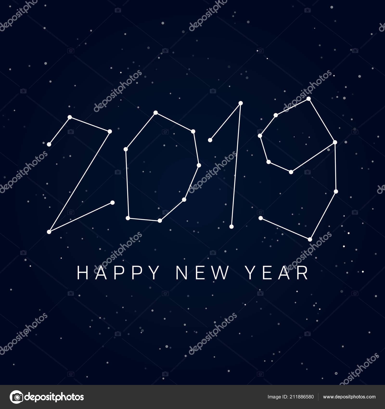 sternbilder karte Frohes Neues Jahr 2019 Karte Sternbilder Des Nachthimmels