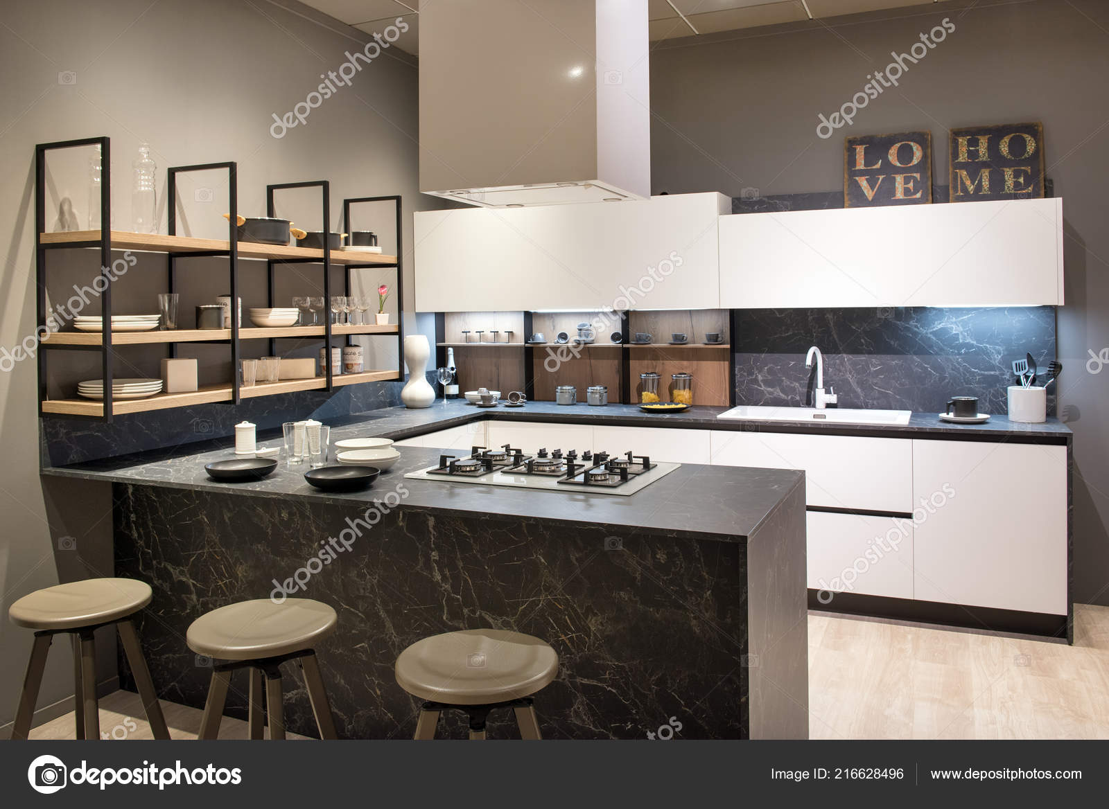 Modern Kitchen Interior Centre Island Bar Stools Hob White