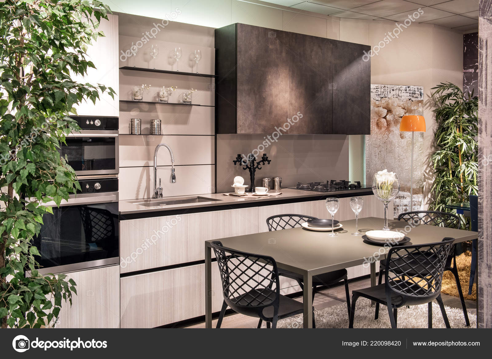 Moderno Elegante Equipada Zona Cocina Comedor Con Amueblada Armarios ...
