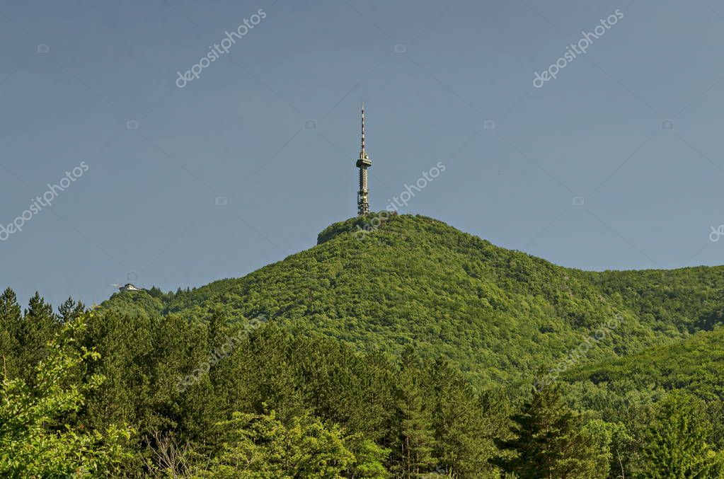 Landscape on the part of Vitosha mountain with television tower on a hill, close to Sofia, Bulgaria, Europe