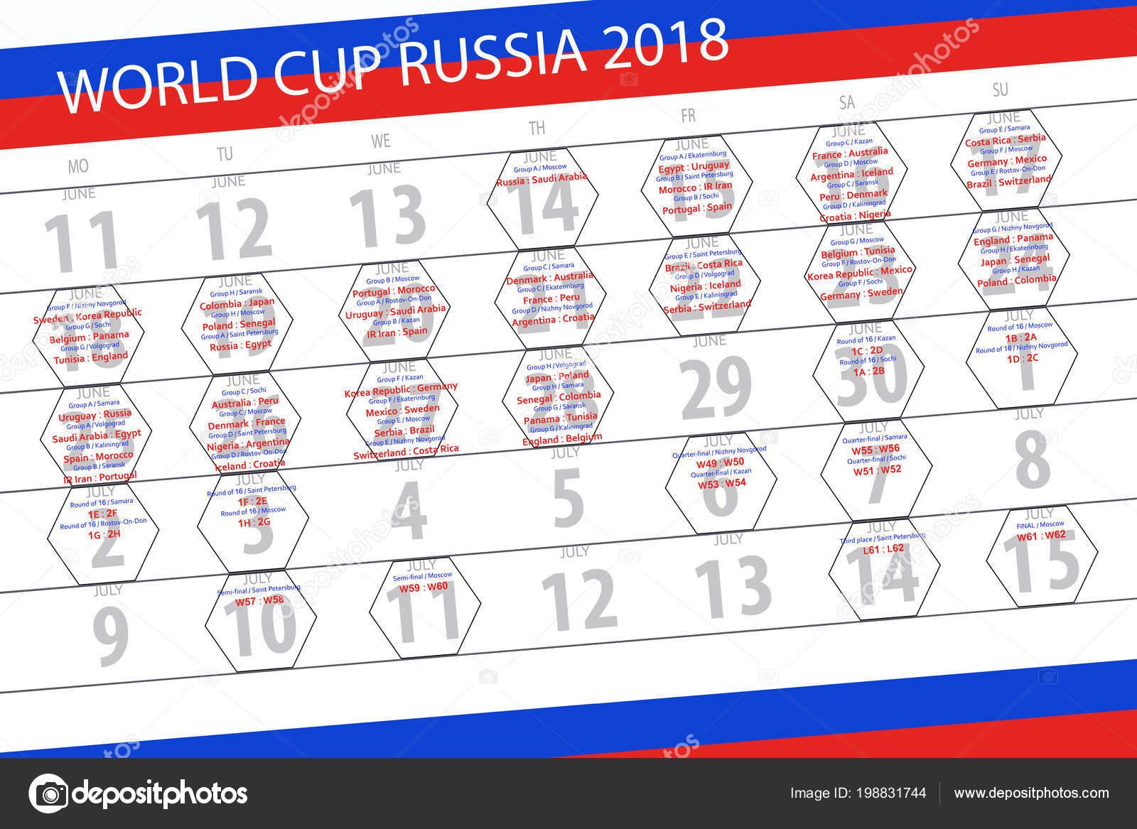 Calendrier Des Match De La Coupe Du Monde.Calendrier Des Matches De La Coupe Du Monde 2018 De Russie