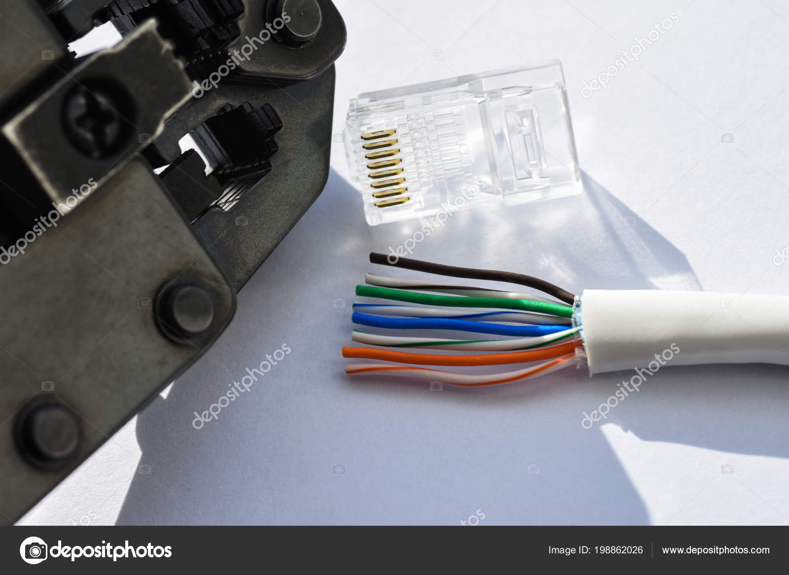Twisting Cable Tool Twisted Pair Ethernet Utp Cat 5 Stock Photo Wiring