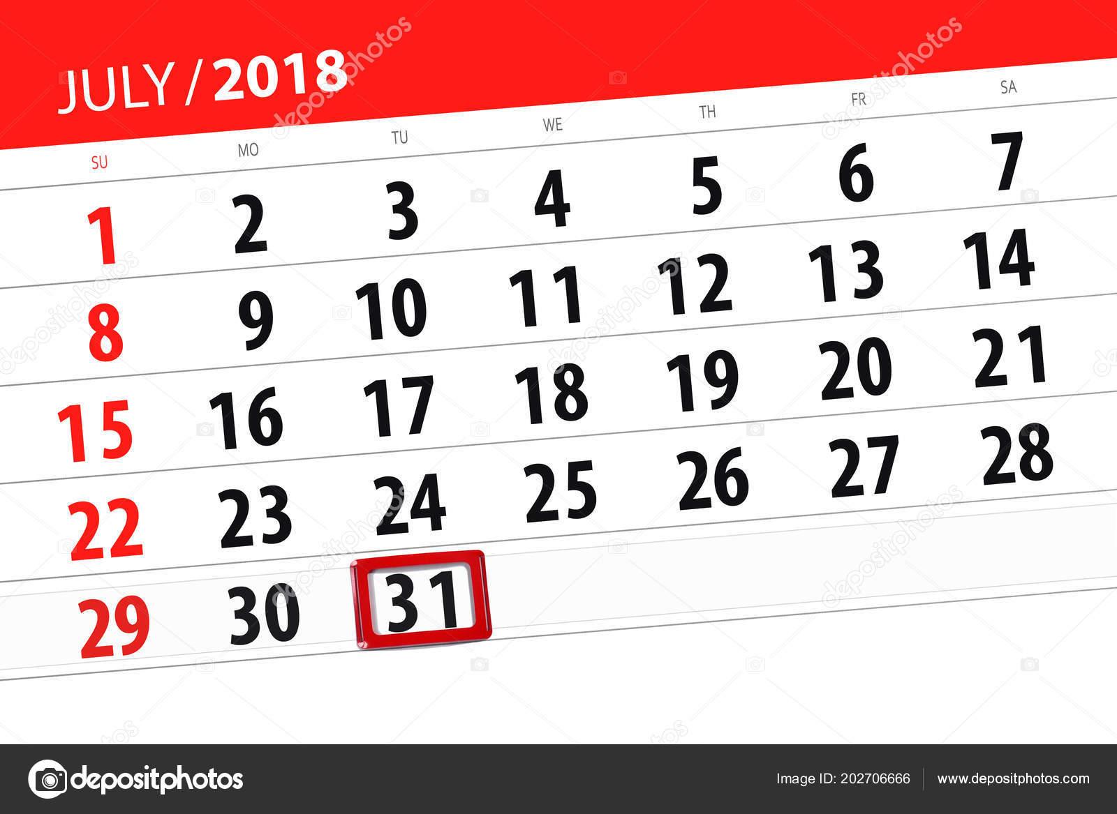 Calendario 31 Luglio.Calendario Planner Per Il Mese Termine Ultimo Giorno Della