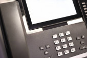 Fotografie Office business phone for video conferencing, mockup