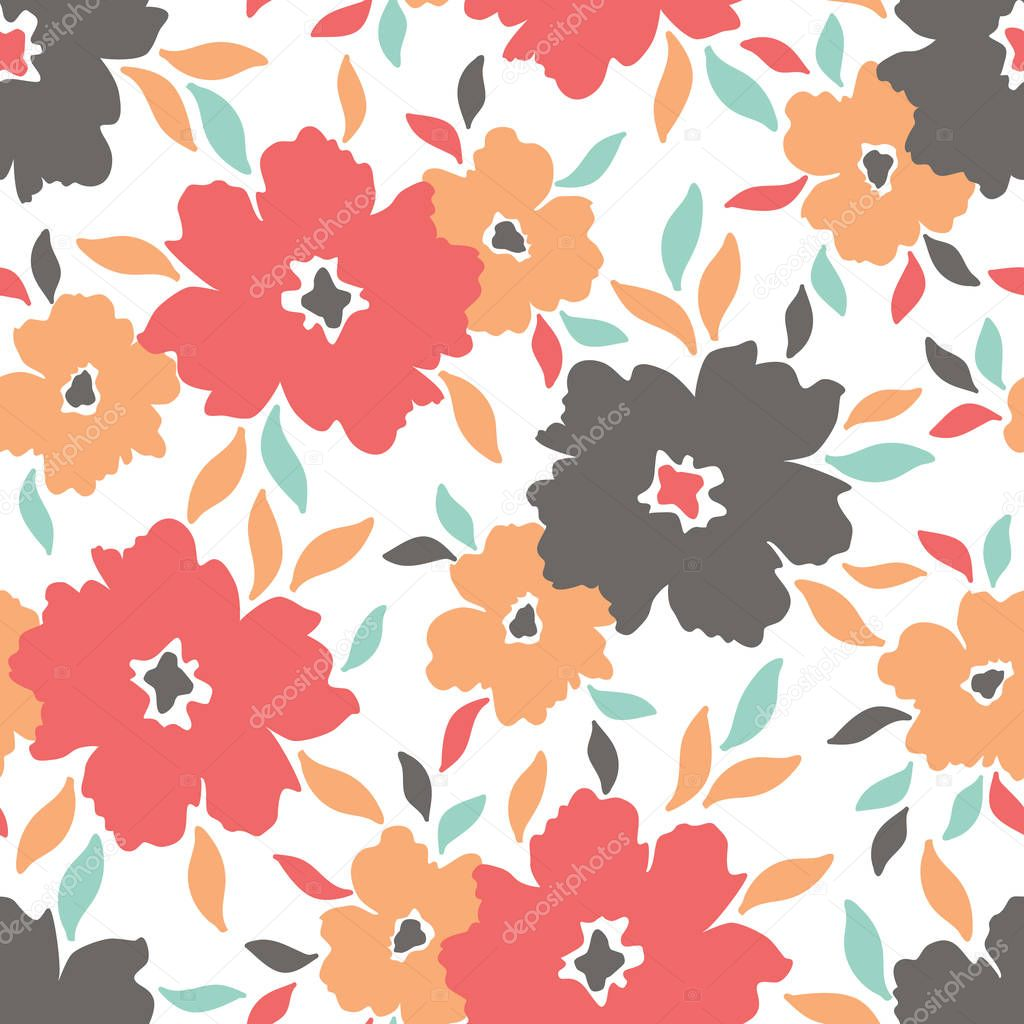 Red and orange colorful graphic large scale blooms on white background vector seamless pattern