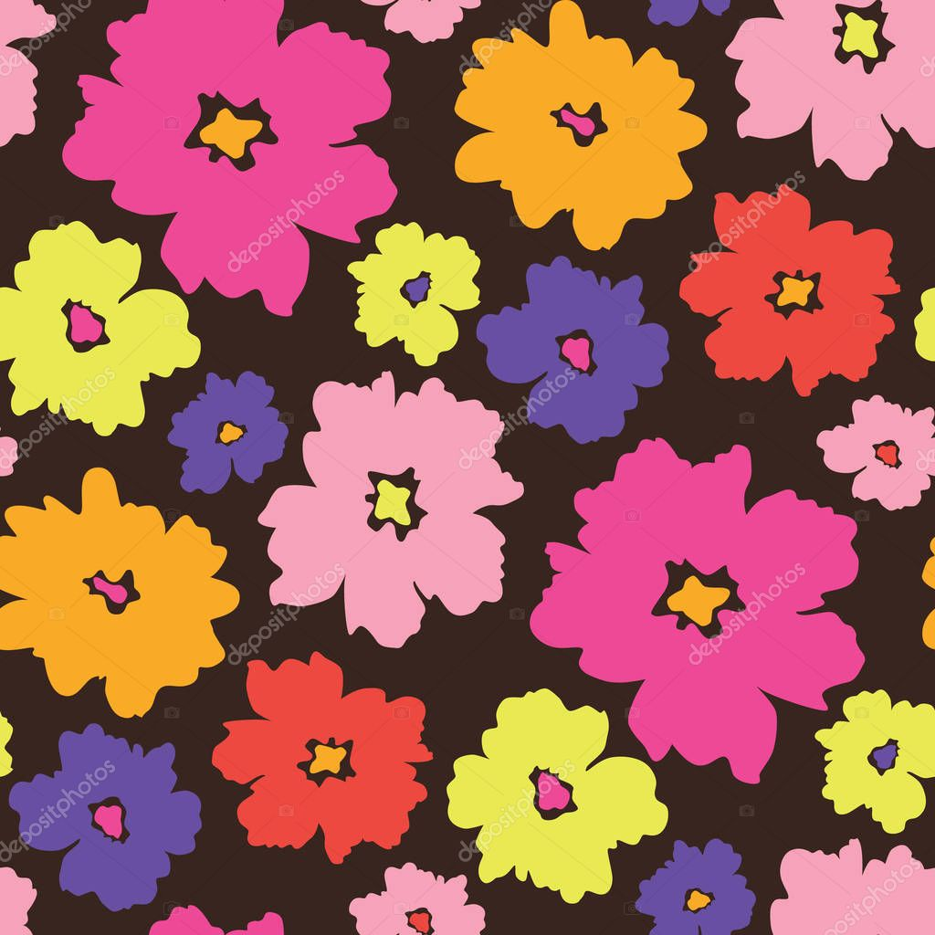 Colourful graphic large scale floral vector seamless pattern background