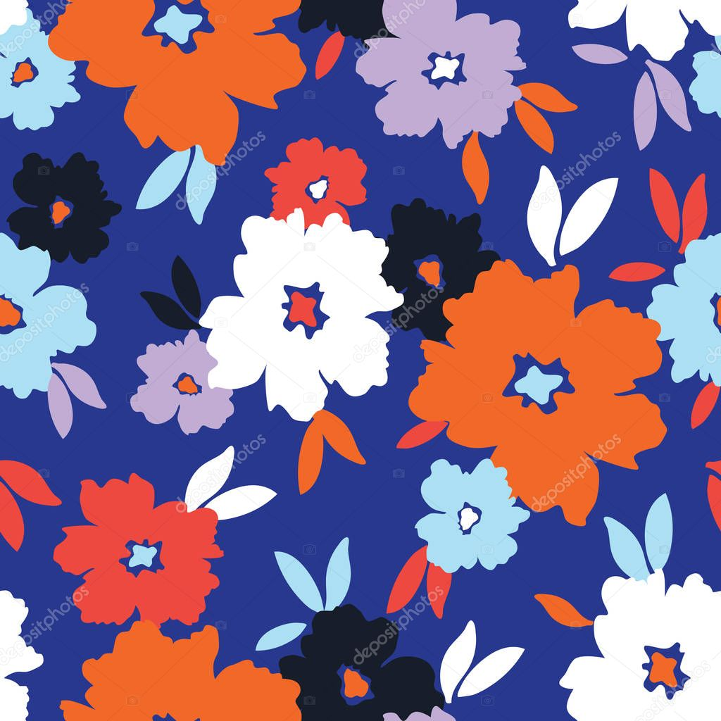Bold graphic large scale blooms on blue background vector seamless pattern