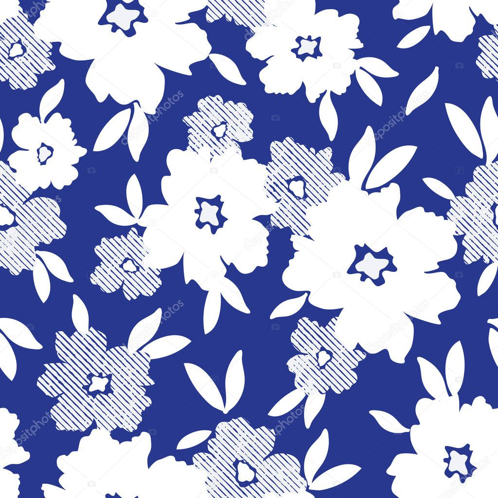 White minimalistic flowers scattered on blue background vector seamless pattern