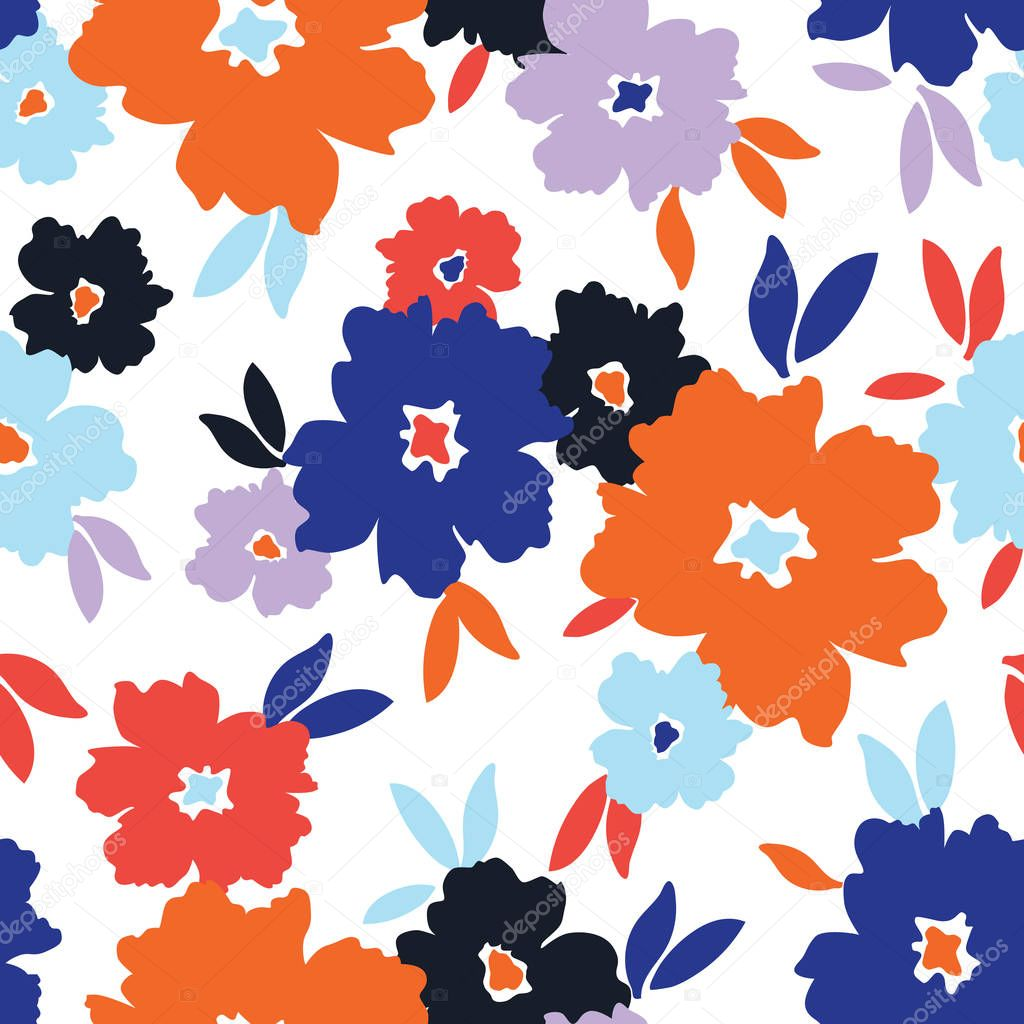Bold stylized flowers scattered on white background vector seamless pattern