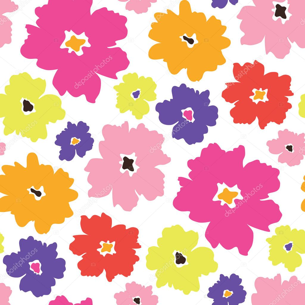Colourful minimalistic flowers scattered on white background vector seamless pattern