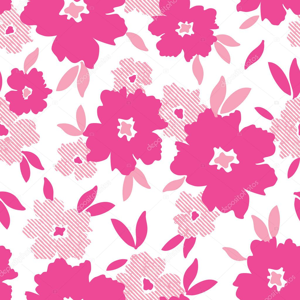 Pink minimalistic flowers scattered on white background vector seamless pattern