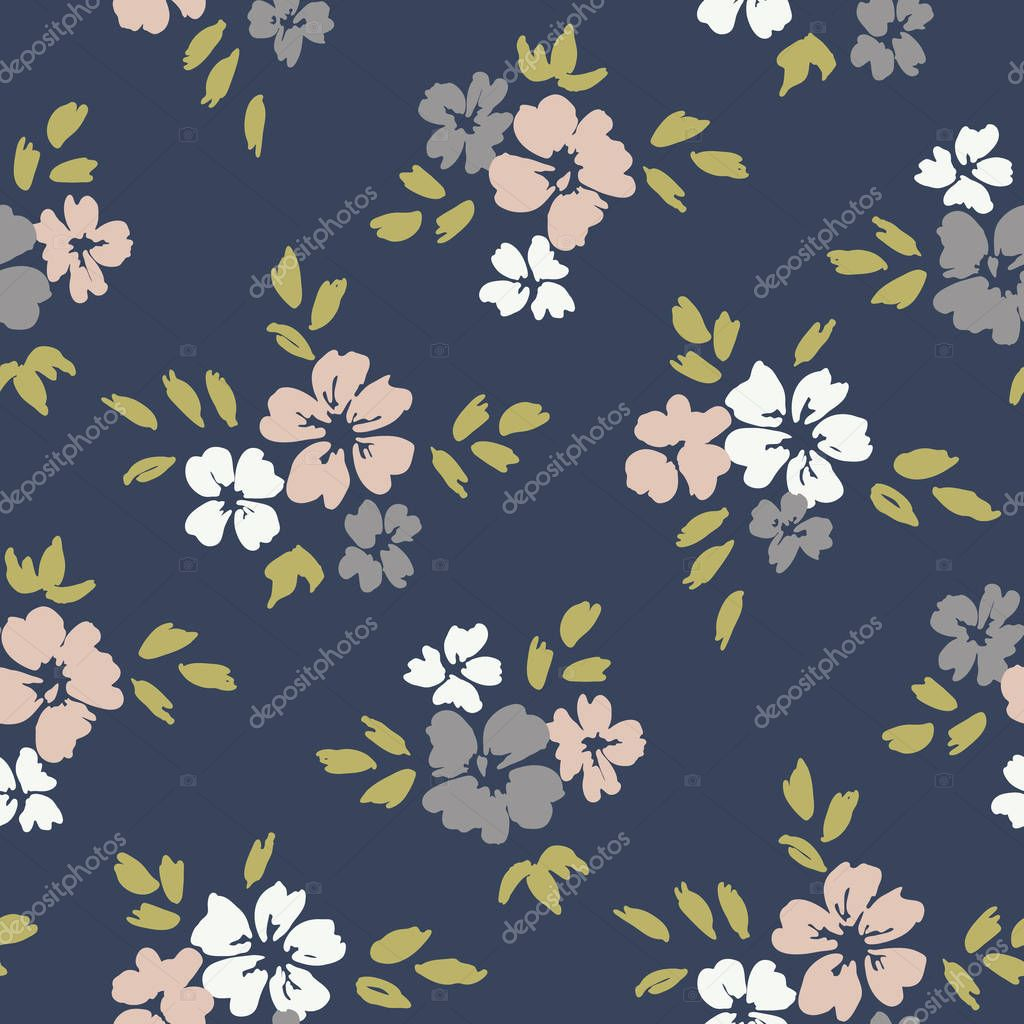 Hand painted large scale floral vector seamless pattern on dark background