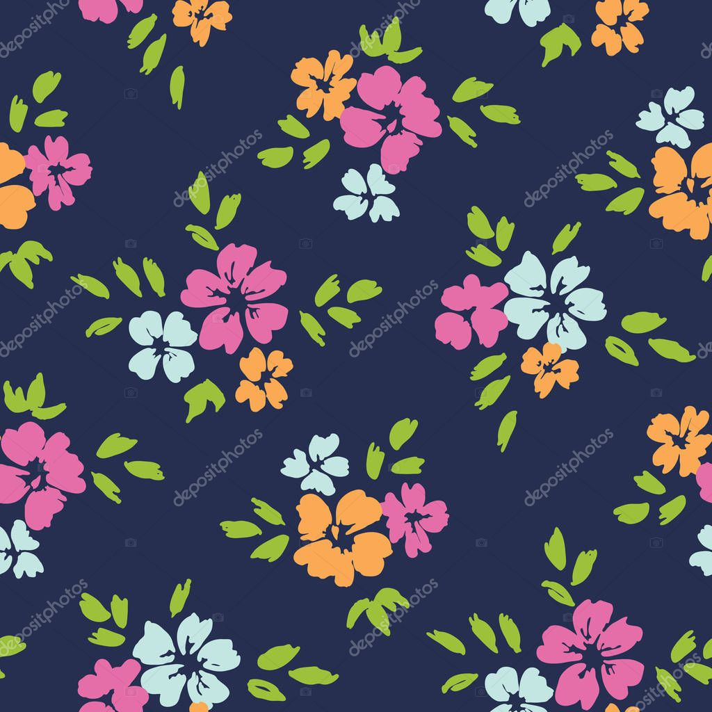 Colorful large scale floral vector seamless pattern on dark blue background