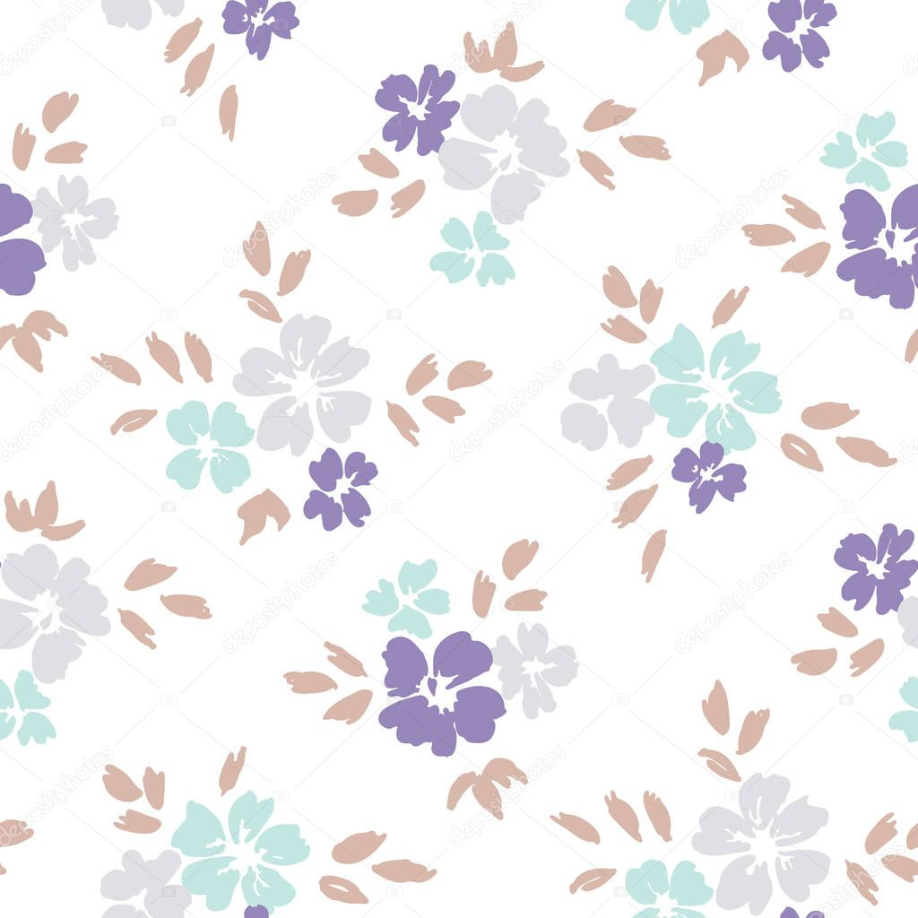 Hand painted large scale pastel floral vector seamless pattern on white background