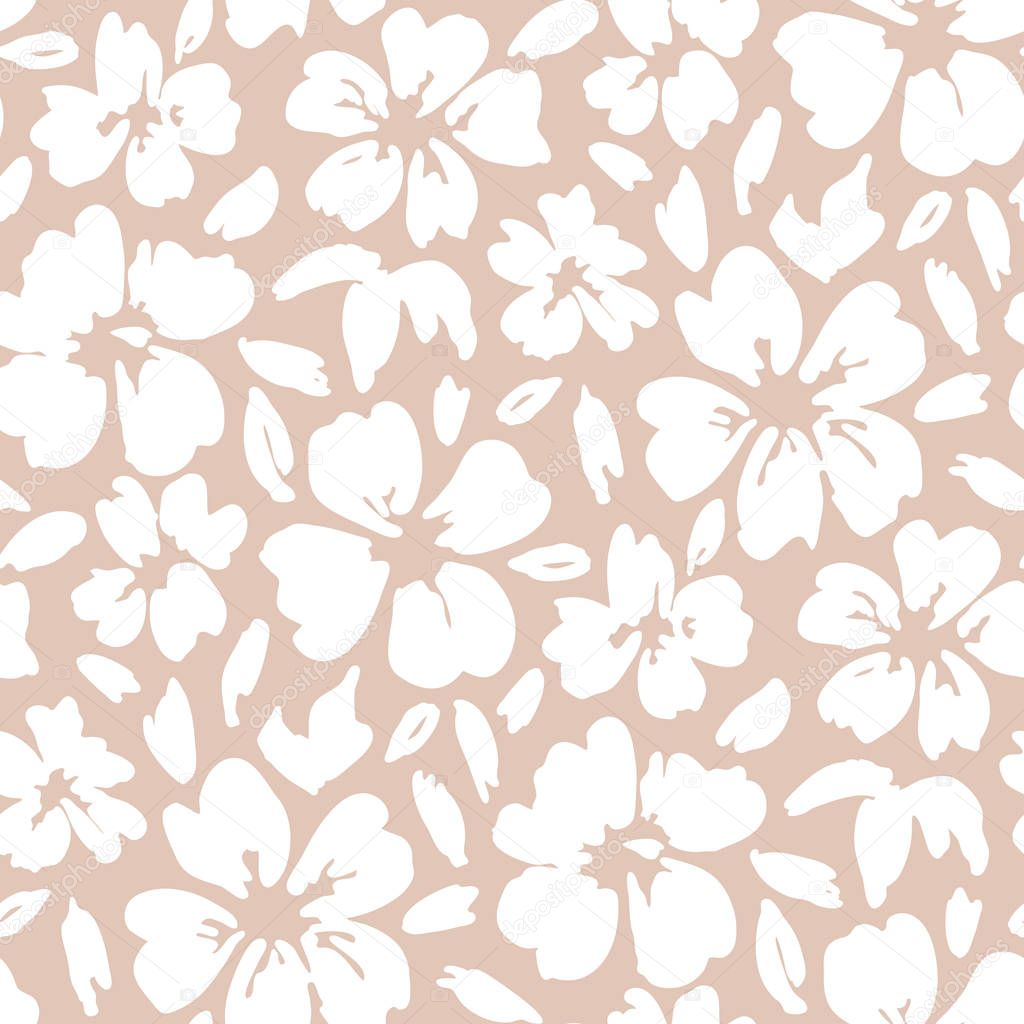 White hand painted large scale floral vector seamless pattern on pink background