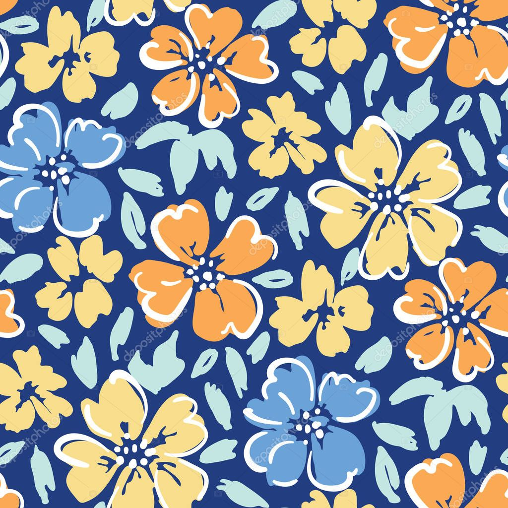 Hand painted large scale floral vector seamless pattern on dark blue background