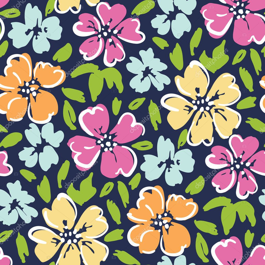 Hand painted folk large scale floral vector seamless pattern on dark blue background