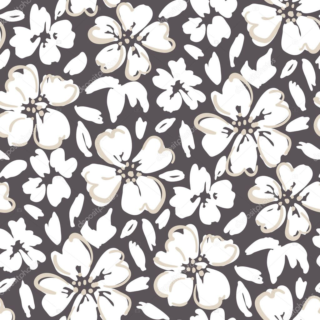 White hand painted outlined large scale floral vector seamless pattern on dark background