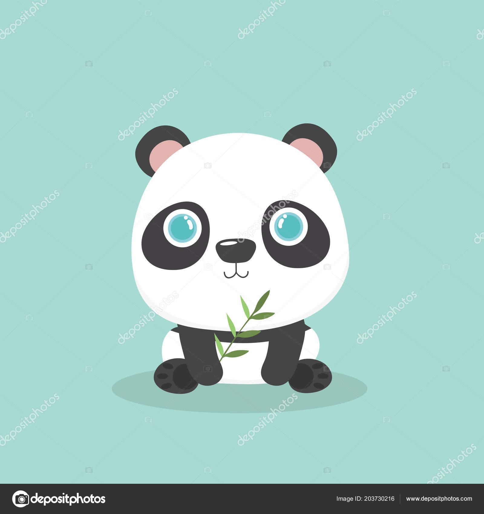 Illustration Vectorielle Panda Mignon Petit Dessin Sur Fond