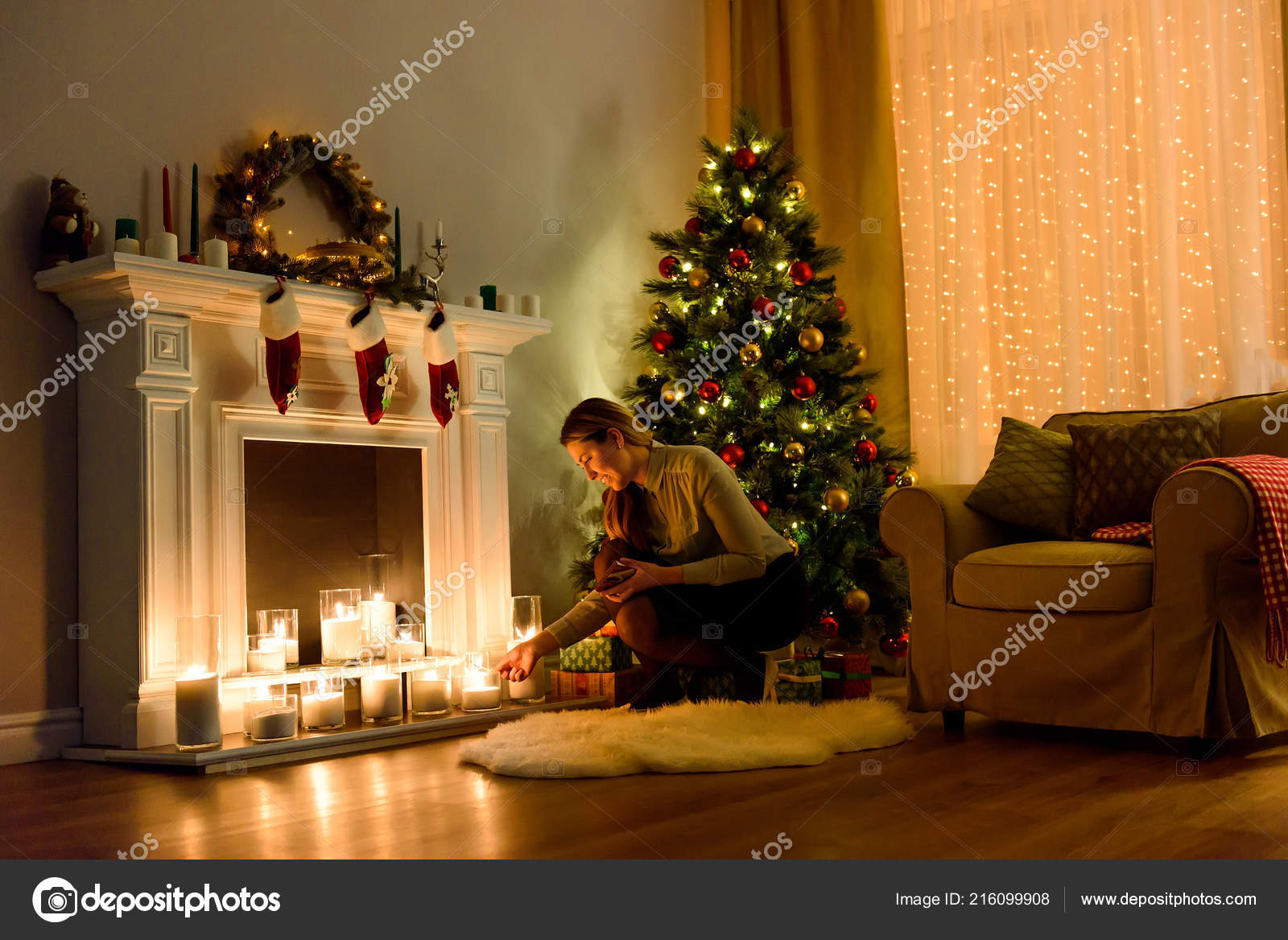 Christmas Decoration Indoors.Nice Woman Cosily Lighted Christmas Decorated Room Fixing