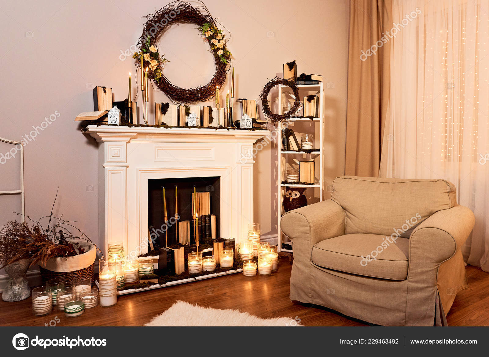 Modern Designed Spacious Living Room Autumn Decorations Fireplace