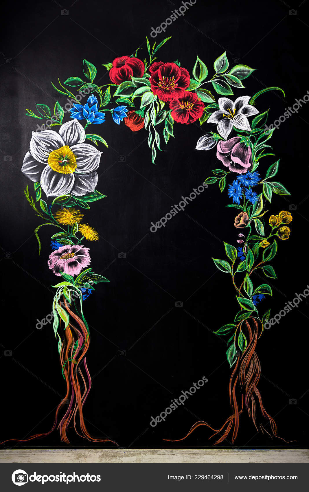 Parete Dipinta A Lavagna blackboard flowers floral arch painted chalkboard home
