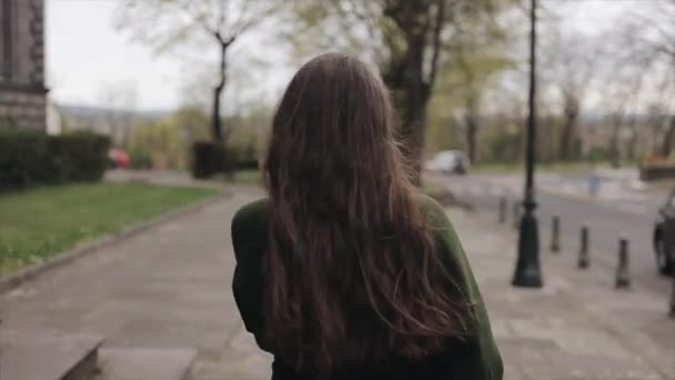Rear view of a beautiful young girl with long brown hair having a walk in spring. Slow motion