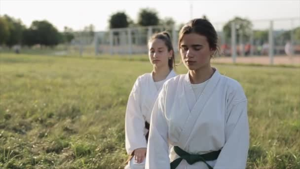 Two young women in karate classes practice relaxation techniques while sitting on the grass with closed eyes. Close-up. Front view. Slow motion. Camera zoom