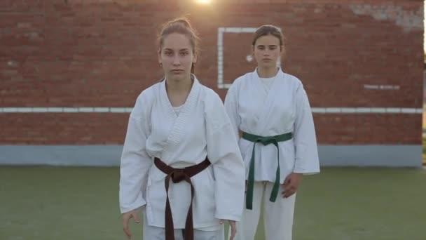 Két női sportoló meghajol és karate pozícióban áll a harcművészeti órák alatt egy téglafalnak ütközve. Előre nézz. Közelkép. Lassú mozgás.