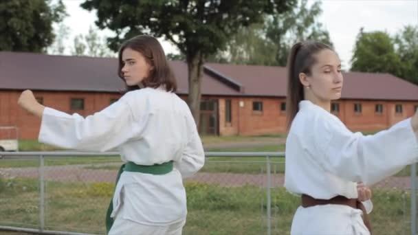 Két fiatal lány fehér kimonóban a sportpályán állva szokványos karatés álláspontokat mutat. Közelkép. Lassú mozgás.