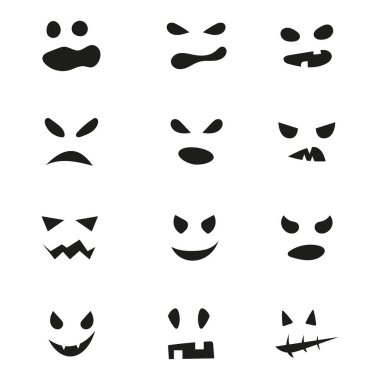 Set of Halloween scary masks. Vector spooky ghost faces. icon