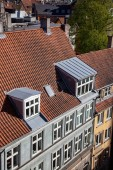 Fotografie aerial view of building with windows on rooftop, green tree and houses in copenhagen, denmark