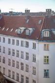 Letecký pohled na krásné budovy a malebné panoráma v Kodani, Dánsko