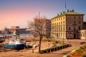Koppenhága, Dánia - május 6-án, 2018: kötik ki hajó-kikötő közelében