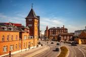 Kodaň, Dánsko - 6. května 2018: letecký pohled na panoráma s ulice a auta