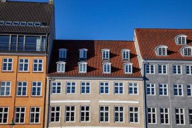 Beautiful historical houses against blue sky in copenhagen, denmark stock vector