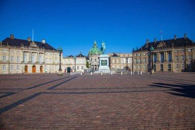 Statue, square and famous Frederiks Church and statue in Copenhagen, Denmark stock vector
