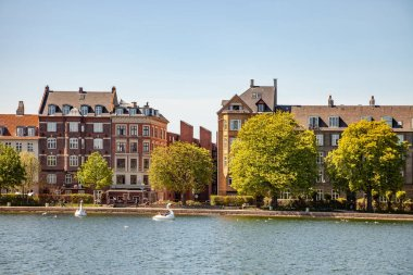 COPENHAGEN, DENMARK - MAY 6, 2018: catamarans shaped of swans on river in front of buildings