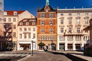 Beautiful cityscape with buildings and street in Copenhagen, Denmark stock vector