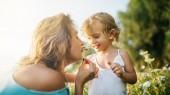 čichání květiny pole poblíž dcera matka