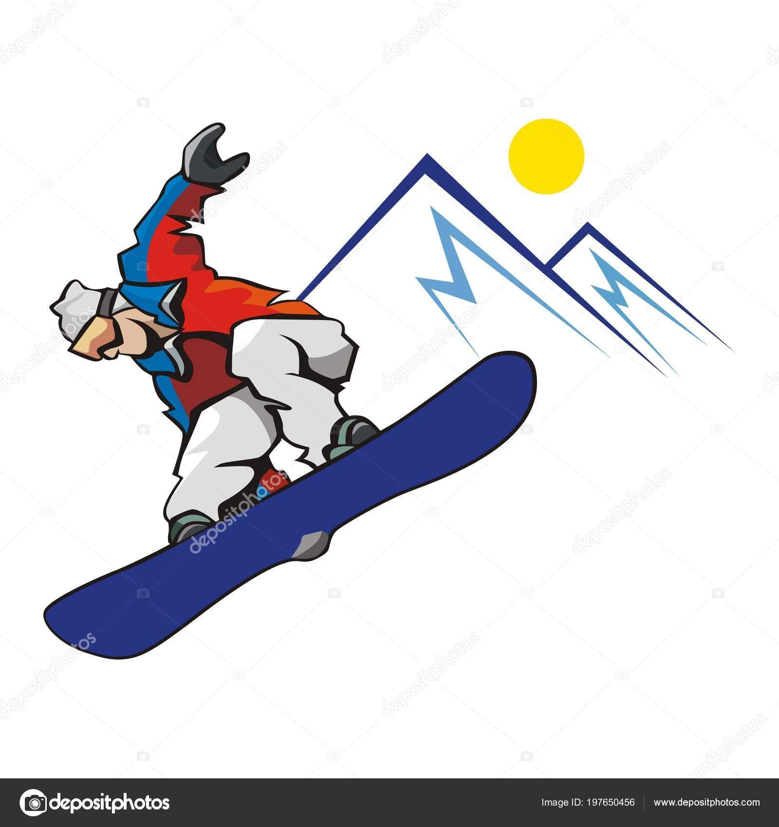 Vector Snowboarder Riding Jumping Winter Sport Winter
