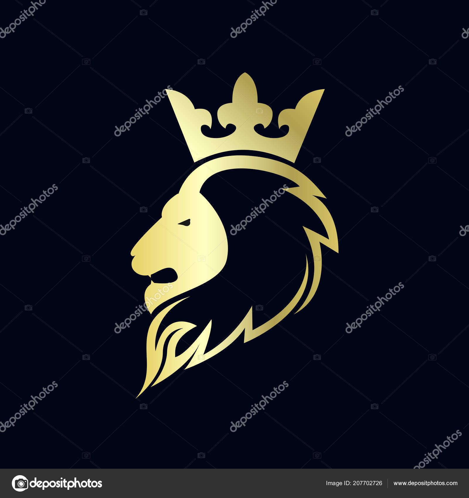 Head Lion Crown Gold Logo Vector Stock
