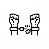 Fényképek Fekete vonal ikon az emancipációs felszabadulás
