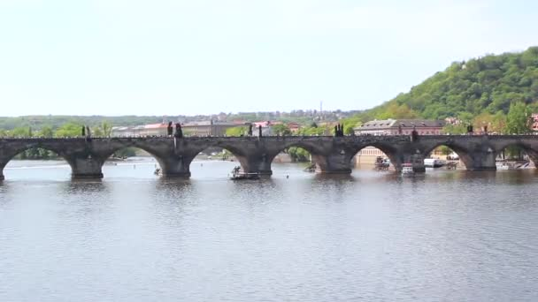 Krajina výhledem na Karlův most v Praze, Česká republika