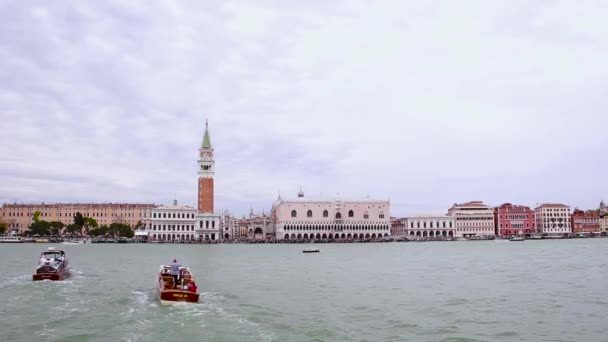 Famous San Marco Tower And Doges Palace Waterfront In Venice, Italy