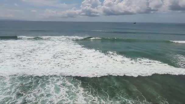 Flight over of big waves in ocean, sea